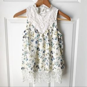 Beautees Floral Lace White Tank Girls Large